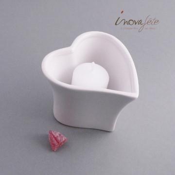 Photophore coeur porcelaine blanche - Label Fête