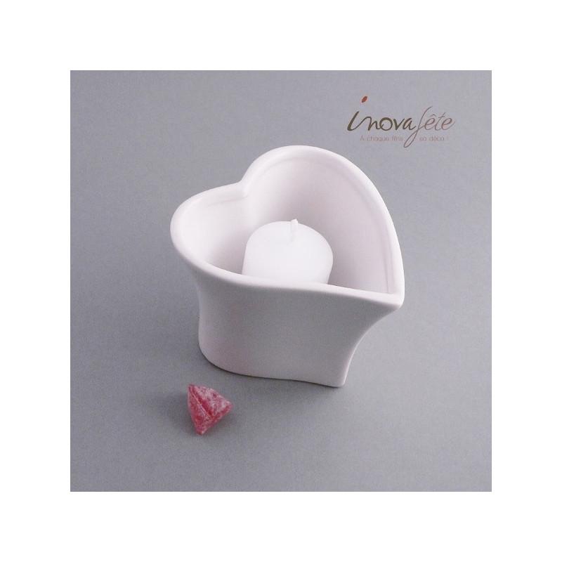 Photophore coeur porcelaine blanche