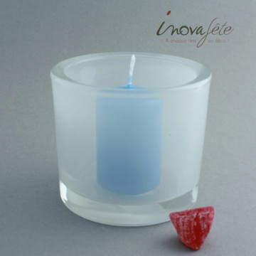Photophore en verre fumé blanc