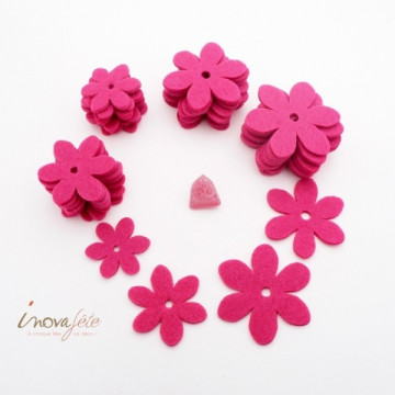 Fleur de feutre rose fuchsia /40