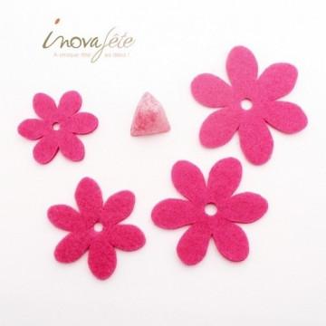 Fleur de feutre rose fuchsia /40 - Label fête