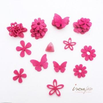 Fleurs et papillons assortis en feutre fuchsia /32 - Label Fête