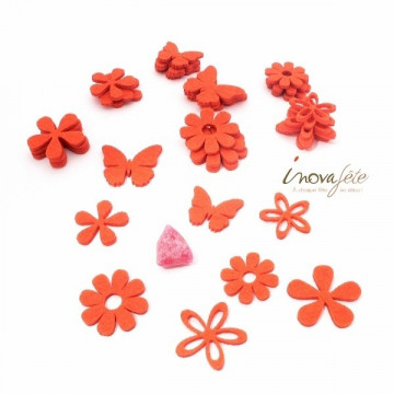 Fleurs et papillons assortis en feutre orange /32