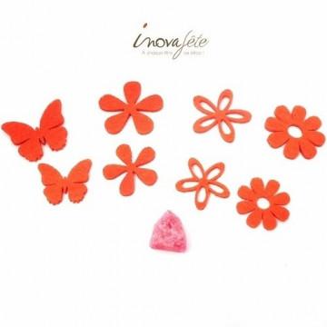 Fleurs et papillons assortis en feutre orange /32 - Label Fête