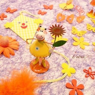 Cerf volant jaune en tissu /3