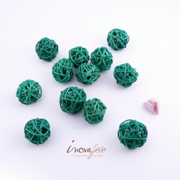 Boule rotin turquoise /12
