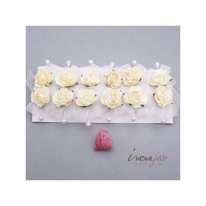 Epingle rose ivoire /12, une décoration de mariage tout en finesse