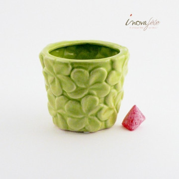 Pot vert décor fleur
