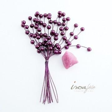 Tige de mini perles violette /6