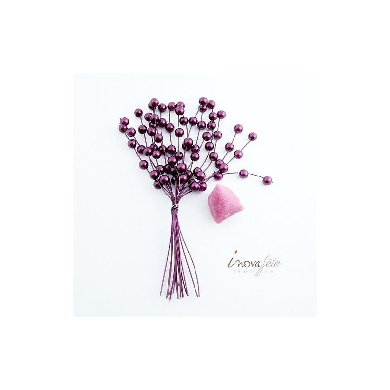 Tige de mini perles violette /16 - Label Fête