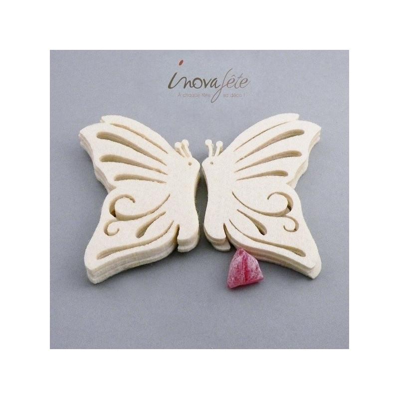 Papillon de profil en feutre écru /8 - Label Fête