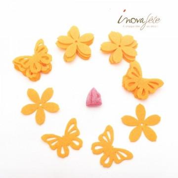 Fleur et papillon en feutre jaune /16