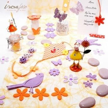 Fleur et papillon en feutre orange /16