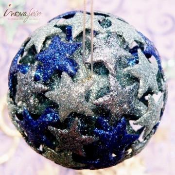 Boules de Noël étoiles pailletées bleues /3