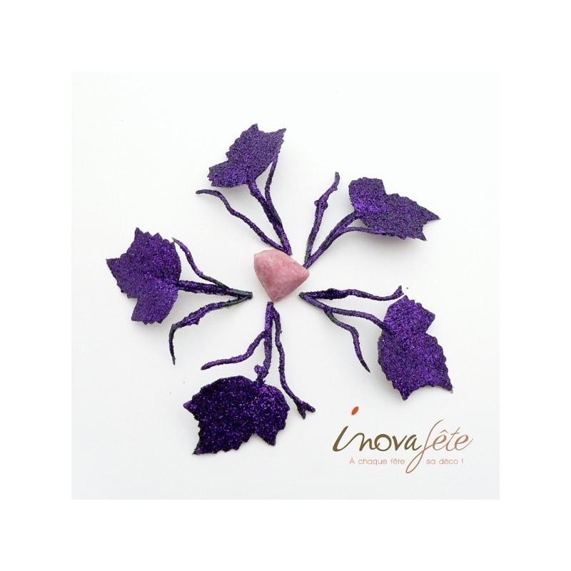 Feuille avec tiges violette pailleté /24