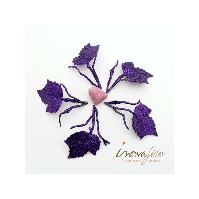Feuille violette pailleté avec tige /24 - Label Fête