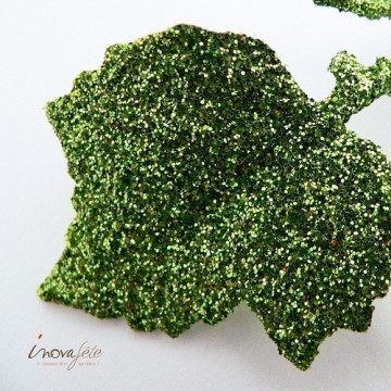 Feuille avec tiges vert pailleté /24 - Label Fête
