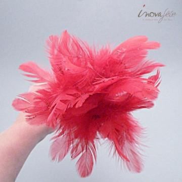 Tiges de plumes rouge pailletées /8 - Label Fête