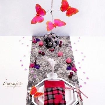 Papillon rose fuchsia sur tige /6
