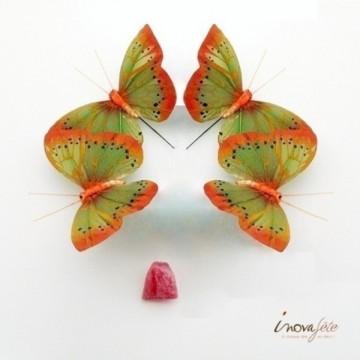Papillon vert sur tige /6 - Label Fête