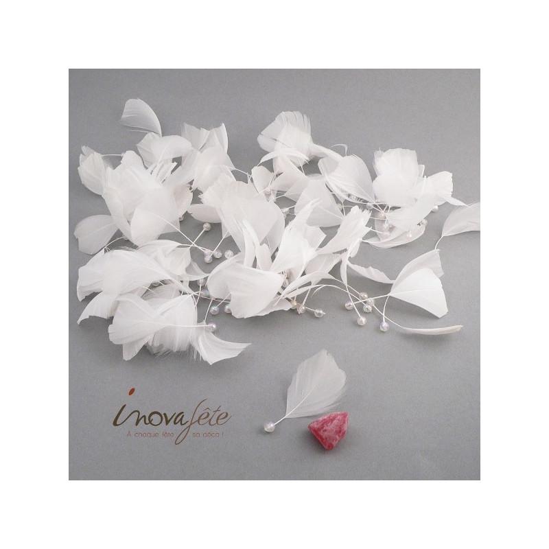 Fine plume blanche à perle irisée /92, une décoration de table de qualité