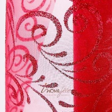 Chemin de table arabesque rouge pailleté 0.30x10m
