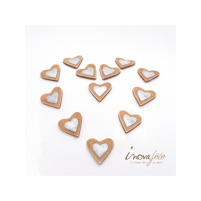Cœur bicolore bois et métal /12 - Label Fête