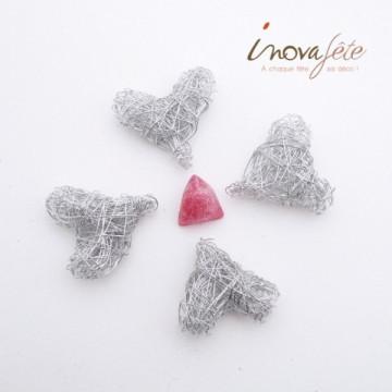 Cœur argent tressé /28 - Label Fête