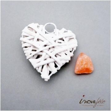 Coeur blanc en bois de saule tressé /3