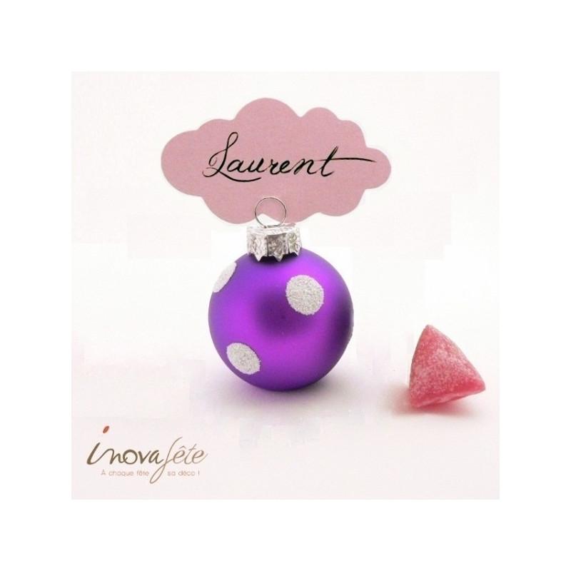 Boule de noël porte carte violette, à pois argent pailleté /6