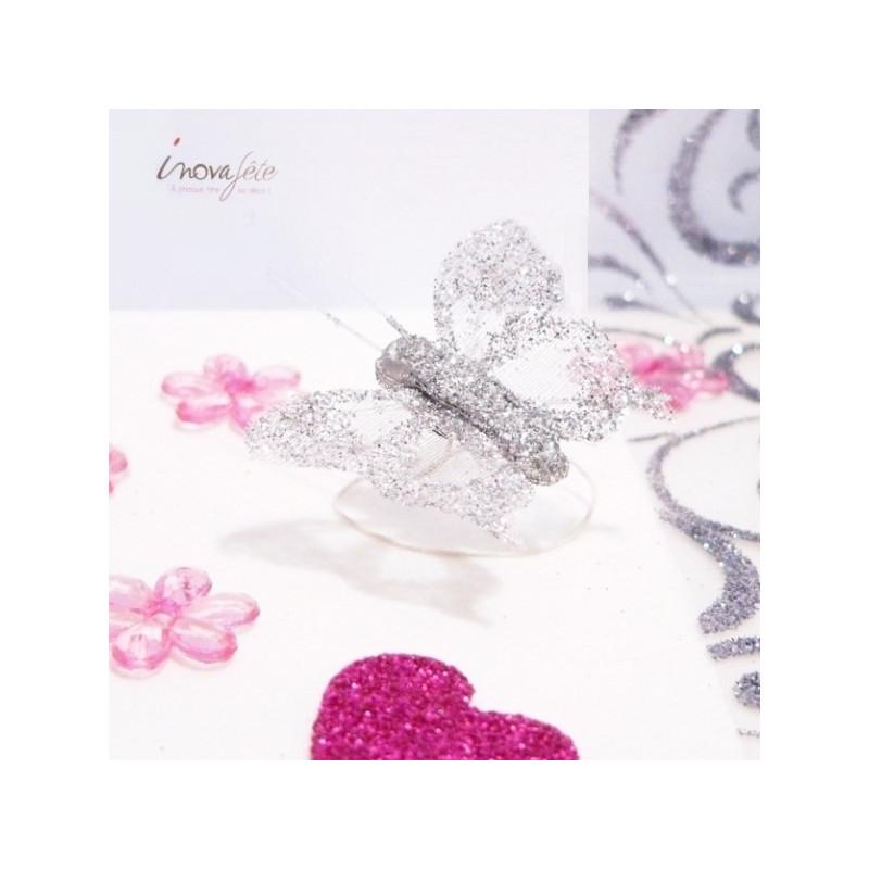 Papillon argent pailleté /8