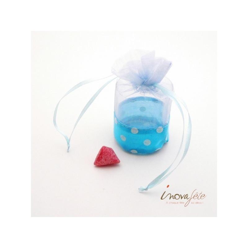 Boite de dragées bleu à pois blanc
