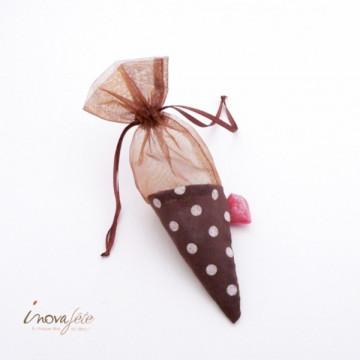 Cône à dragées textile chocolat à pois blanc