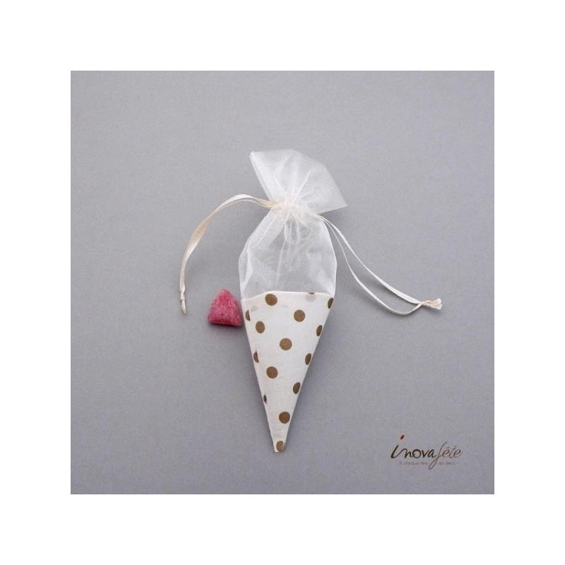 Boite de dragées, cône blanc à pois chocolat
