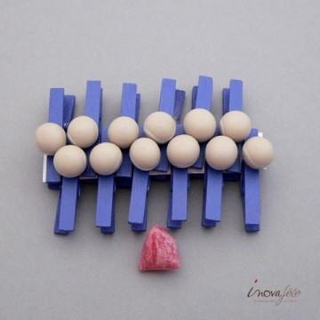 Pince linge de déco, bleu motif balle tennis /12