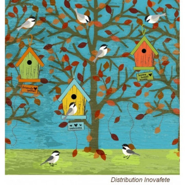 Serviettes papier décor oiseaux 33x33 cm - Label Fête