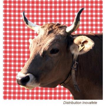 Serviettes papier motif vache 33x33 cm
