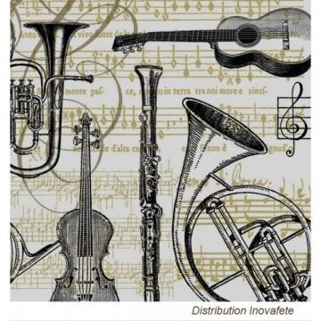 Serviettes papier décor musique 33x33 cm - Label Fête