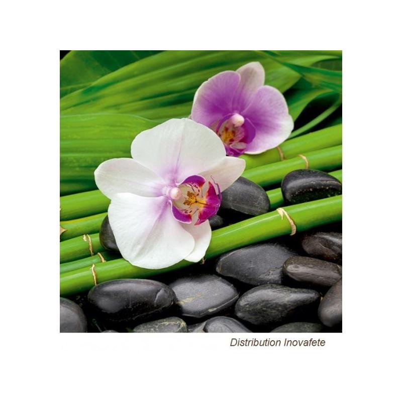 Serviettes papier décor orchidée 33x33 cm - Label Fête