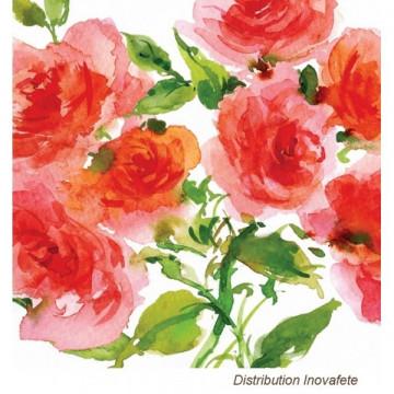 Serviettes papier décor fleurs 33x33 cm - Label Fête