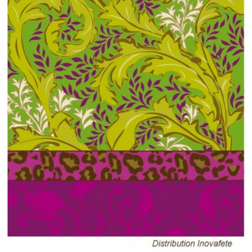 Serviettes papier décor fuchsia/vert 33x33 cm