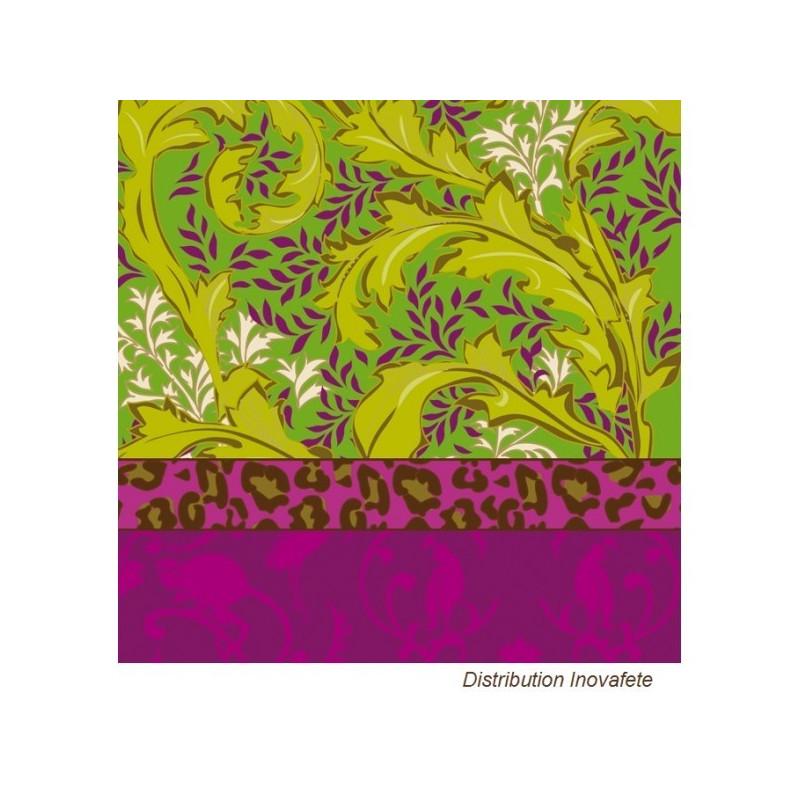 Serviettes papier décor fuchsia/vert 33x33 cm - Label Fête
