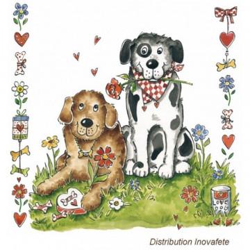 Serviettes papier décor chiens 33x33 cm