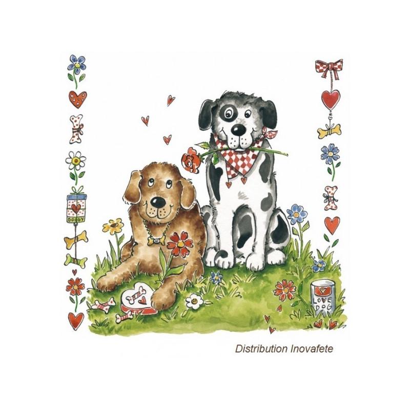 Serviettes papier décor chiens 33x33 cm - Label Fête