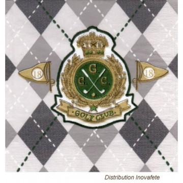 Serviettes papier décor golf 33x33 cm