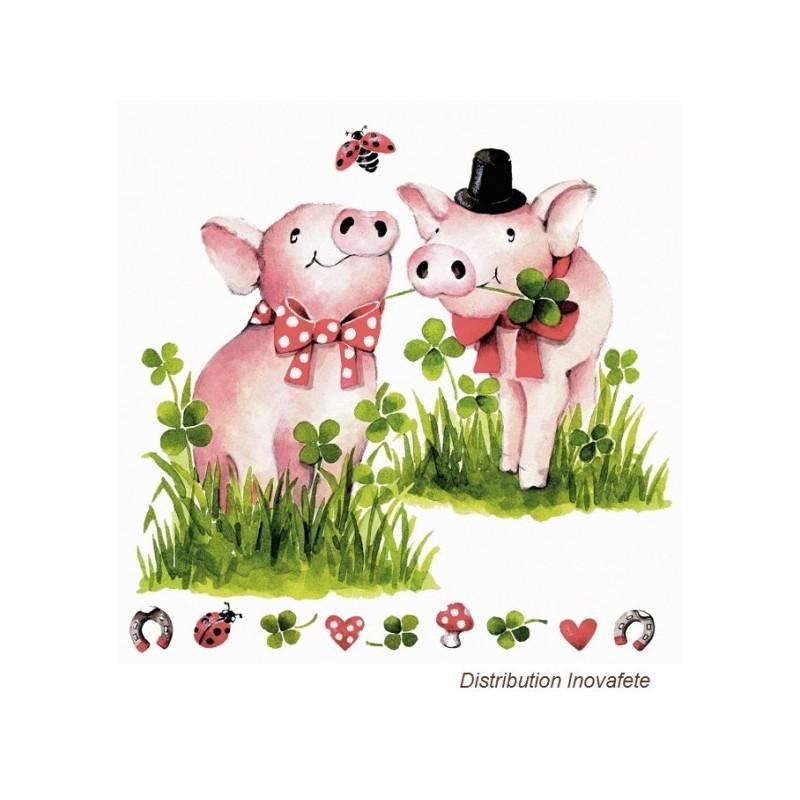 Serviettes papier décor cochons 33x33 cm