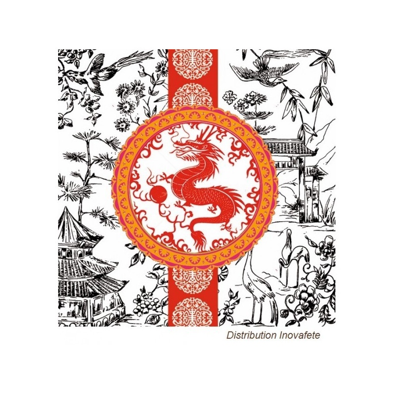 Serviettes papier décor asiatique 33x33 cm