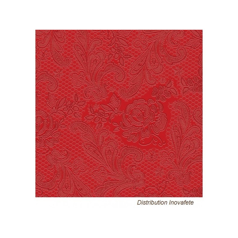 Serviettes papier Rouge décor chic 33x33 cm - Label Fête
