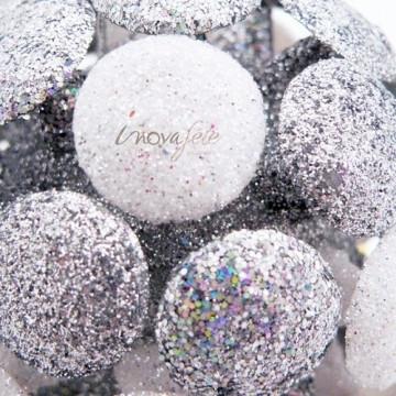 Boule de Noël pailletée blanche et argent - Label Fête