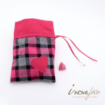 Petit sac écossais fuchsia/gris, motif coeur